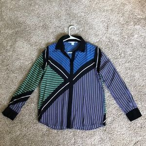 DVF Silk Blouse - Long Sleeve Multi-Color Striped